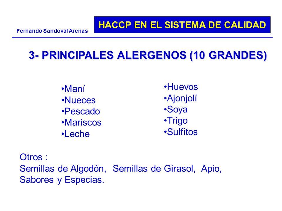 HACCP EN EL SISTEMA DE CALIDAD Fernando Sandoval Arenas 3- PRINCIPALES ALERGENOS (10 GRANDES) Otros : Semillas de Algodón, Semillas de Girasol, Apio,