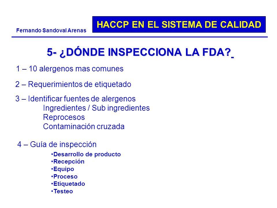 HACCP EN EL SISTEMA DE CALIDAD Fernando Sandoval Arenas 5- ¿DÓNDE INSPECCIONA LA FDA? 1 – 10 alergenos mas comunes 2 – Requerimientos de etiquetado 3
