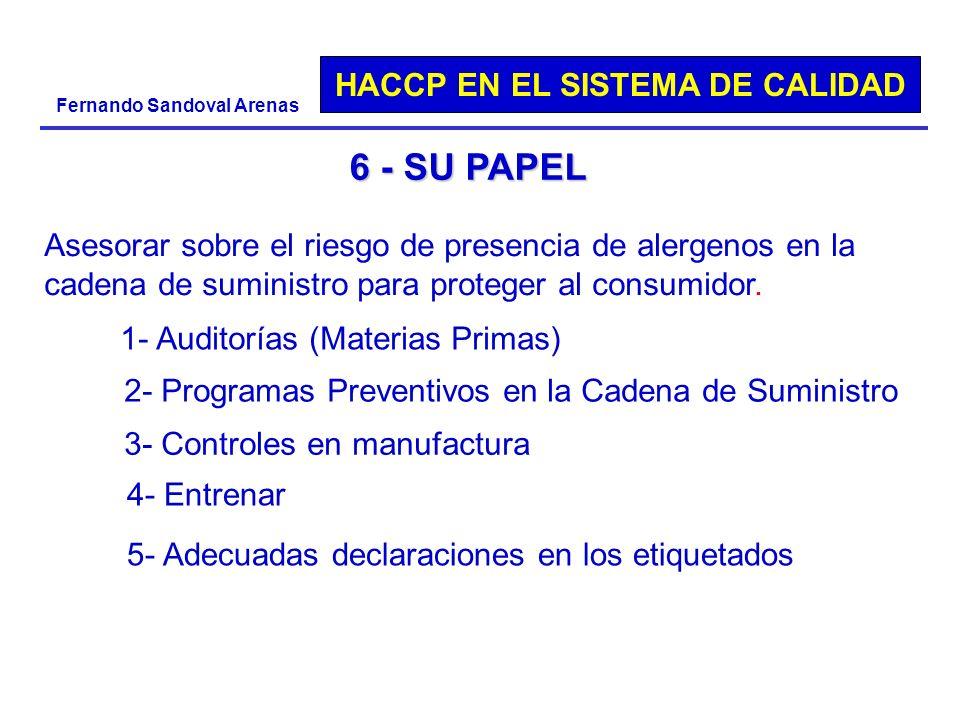 HACCP EN EL SISTEMA DE CALIDAD Fernando Sandoval Arenas 6 - SU PAPEL Asesorar sobre el riesgo de presencia de alergenos en la cadena de suministro par
