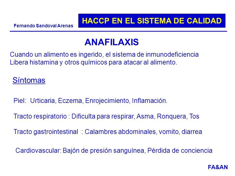 HACCP EN EL SISTEMA DE CALIDAD Fernando Sandoval Arenas ANAFILAXIS Cuando un alimento es ingerido, el sistema de inmunodeficiencia Libera histamina y