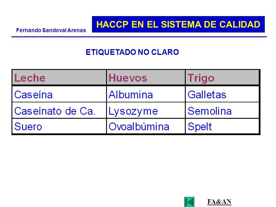 HACCP EN EL SISTEMA DE CALIDAD Fernando Sandoval Arenas ETIQUETADO NO CLARO FA&AN