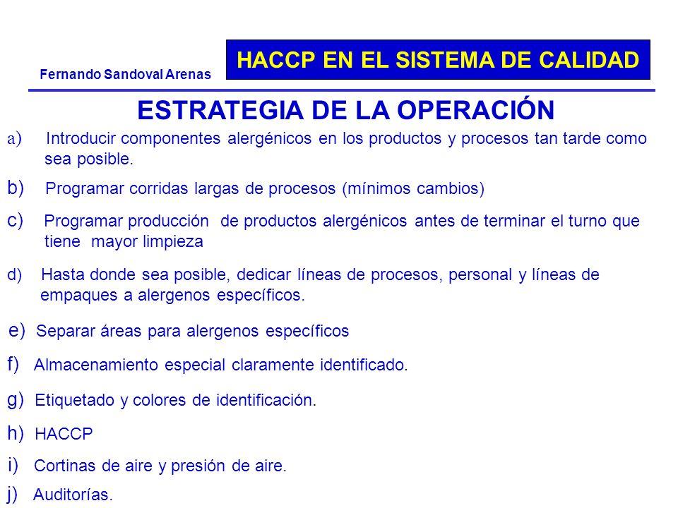 HACCP EN EL SISTEMA DE CALIDAD Fernando Sandoval Arenas ESTRATEGIA DE LA OPERACIÓN a) Introducir componentes alergénicos en los productos y procesos t