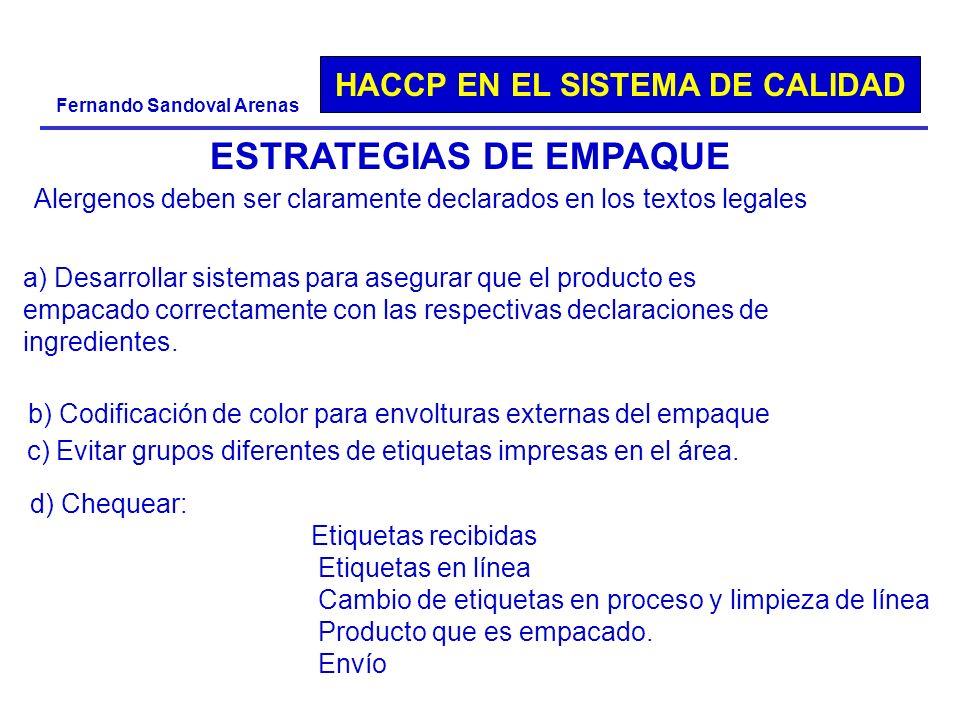 HACCP EN EL SISTEMA DE CALIDAD Fernando Sandoval Arenas ESTRATEGIAS DE EMPAQUE a) Desarrollar sistemas para asegurar que el producto es empacado corre