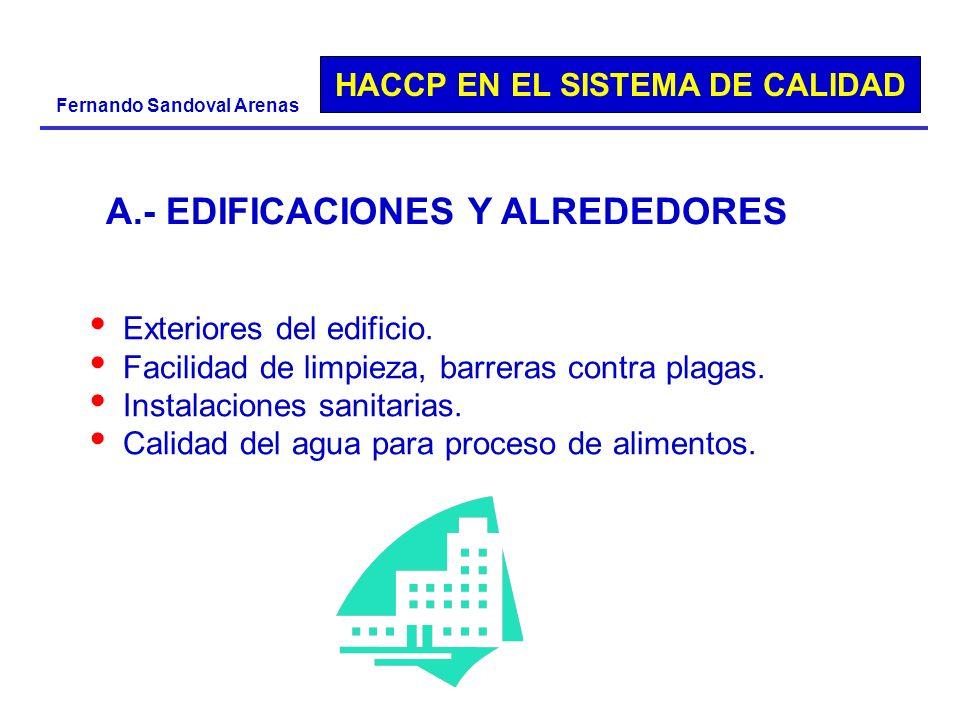 HACCP EN EL SISTEMA DE CALIDAD Fernando Sandoval Arenas Exteriores del edificio. Facilidad de limpieza, barreras contra plagas. Instalaciones sanitari