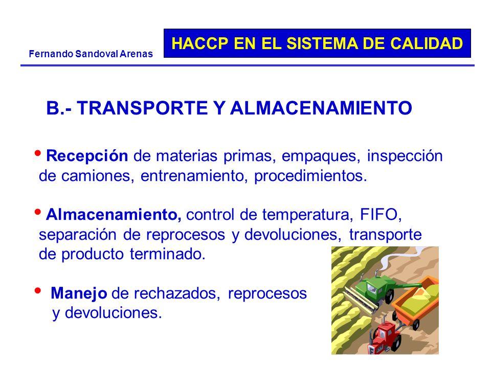 HACCP EN EL SISTEMA DE CALIDAD Fernando Sandoval Arenas Recepción de materias primas, empaques, inspección de camiones, entrenamiento, procedimientos.