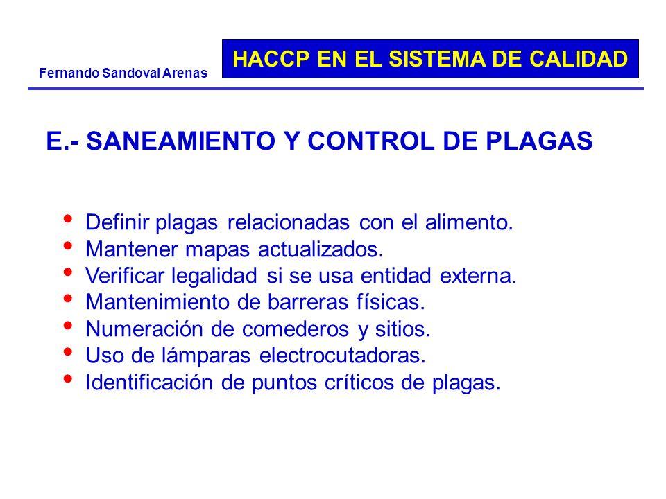 HACCP EN EL SISTEMA DE CALIDAD Fernando Sandoval Arenas Definir plagas relacionadas con el alimento. Mantener mapas actualizados. Verificar legalidad