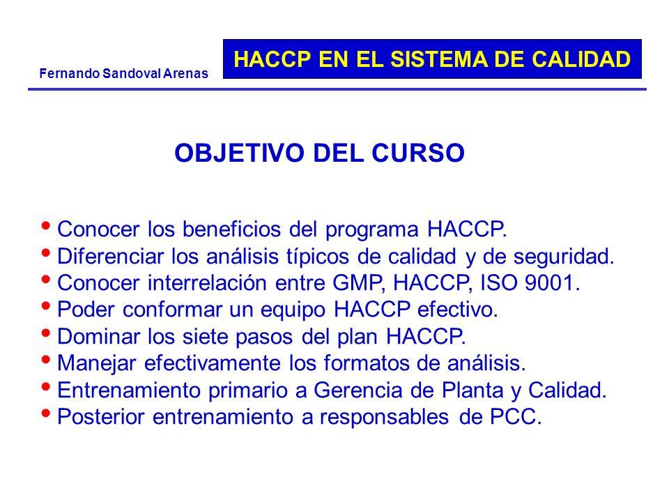 HACCP EN EL SISTEMA DE CALIDAD Fernando Sandoval Arenas OBJETIVO DEL CURSO Conocer los beneficios del programa HACCP. Diferenciar los análisis típicos