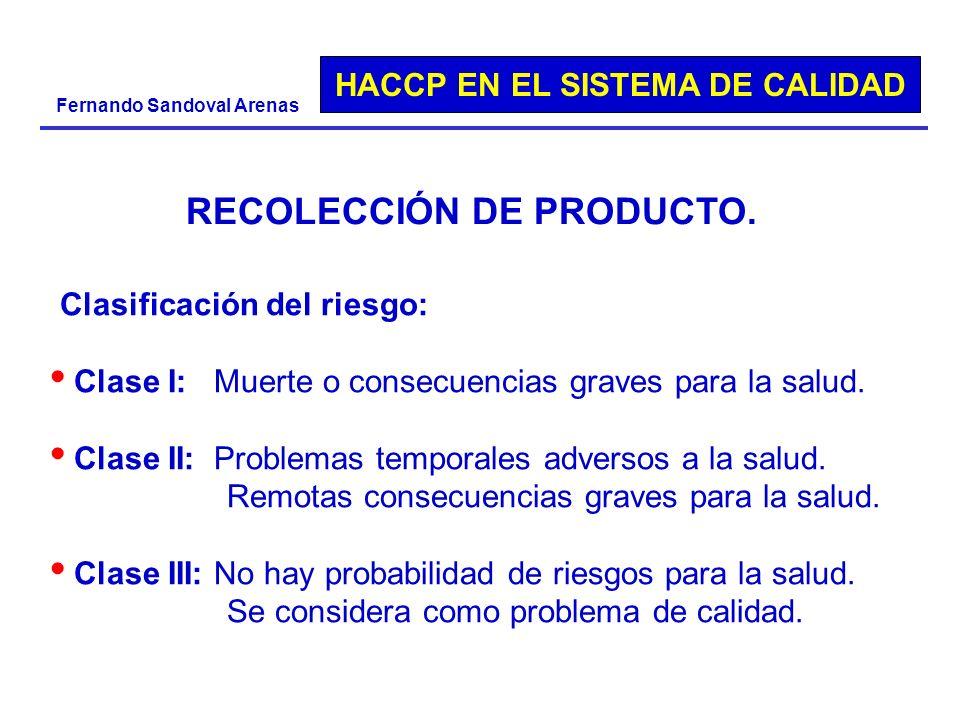 HACCP EN EL SISTEMA DE CALIDAD Fernando Sandoval Arenas Clasificación del riesgo: Clase I: Muerte o consecuencias graves para la salud. Clase II: Prob