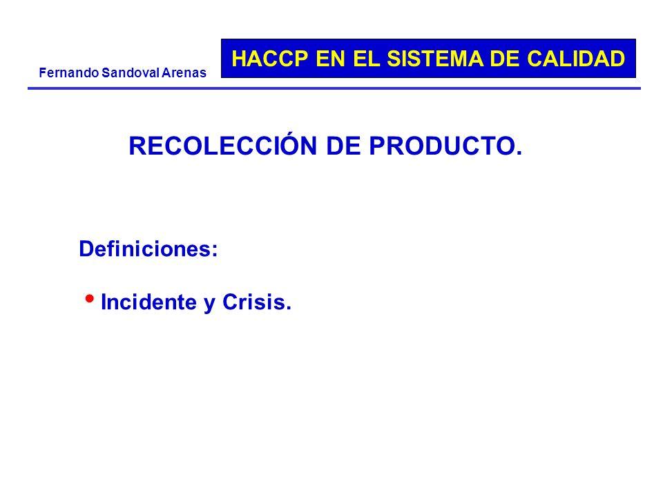 HACCP EN EL SISTEMA DE CALIDAD Fernando Sandoval Arenas Definiciones: Incidente y Crisis. RECOLECCIÓN DE PRODUCTO.