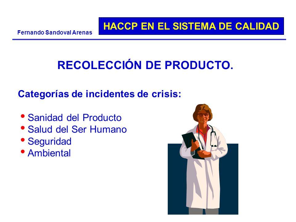 HACCP EN EL SISTEMA DE CALIDAD Fernando Sandoval Arenas Categorías de incidentes de crisis: Sanidad del Producto Salud del Ser Humano Seguridad Ambien