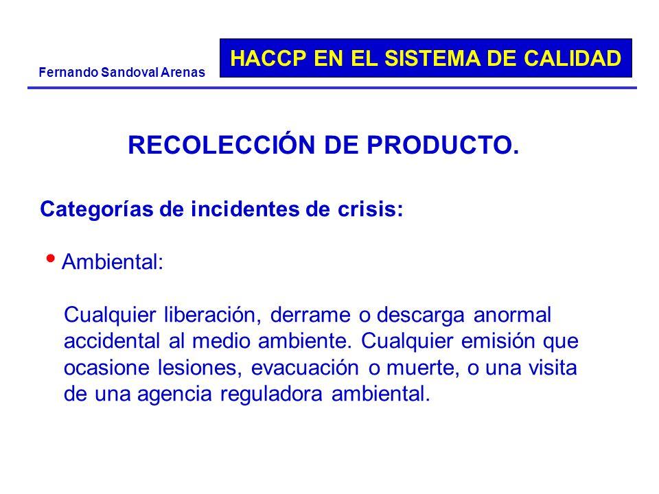 HACCP EN EL SISTEMA DE CALIDAD Fernando Sandoval Arenas Categorías de incidentes de crisis: Ambiental: Cualquier liberación, derrame o descarga anorma