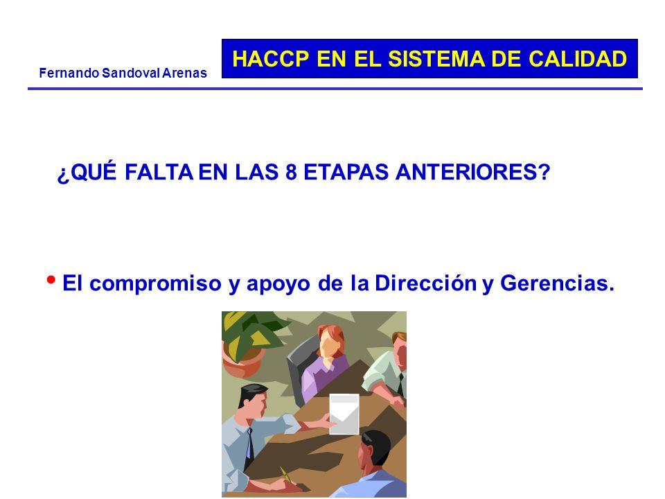 HACCP EN EL SISTEMA DE CALIDAD Fernando Sandoval Arenas ¿QUÉ FALTA EN LAS 8 ETAPAS ANTERIORES? El compromiso y apoyo de la Dirección y Gerencias.