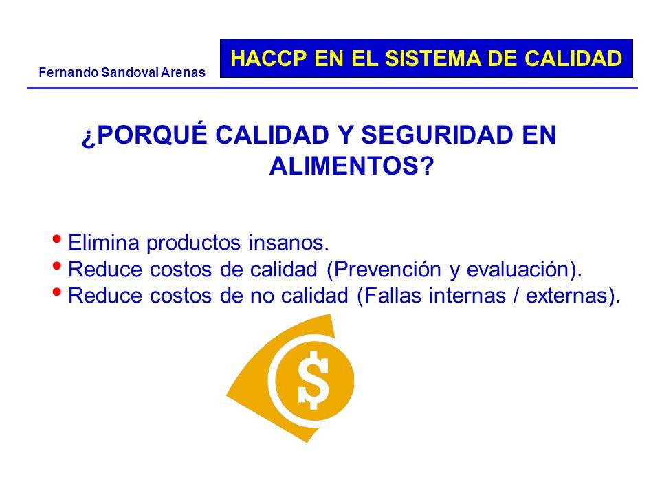 HACCP EN EL SISTEMA DE CALIDAD Fernando Sandoval Arenas ¿PORQUÉ CALIDAD Y SEGURIDAD EN ALIMENTOS? Elimina productos insanos. Reduce costos de calidad