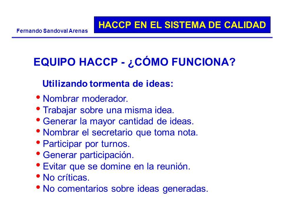 HACCP EN EL SISTEMA DE CALIDAD Fernando Sandoval Arenas EQUIPO HACCP - ¿CÓMO FUNCIONA? Nombrar moderador. Trabajar sobre una misma idea. Generar la ma