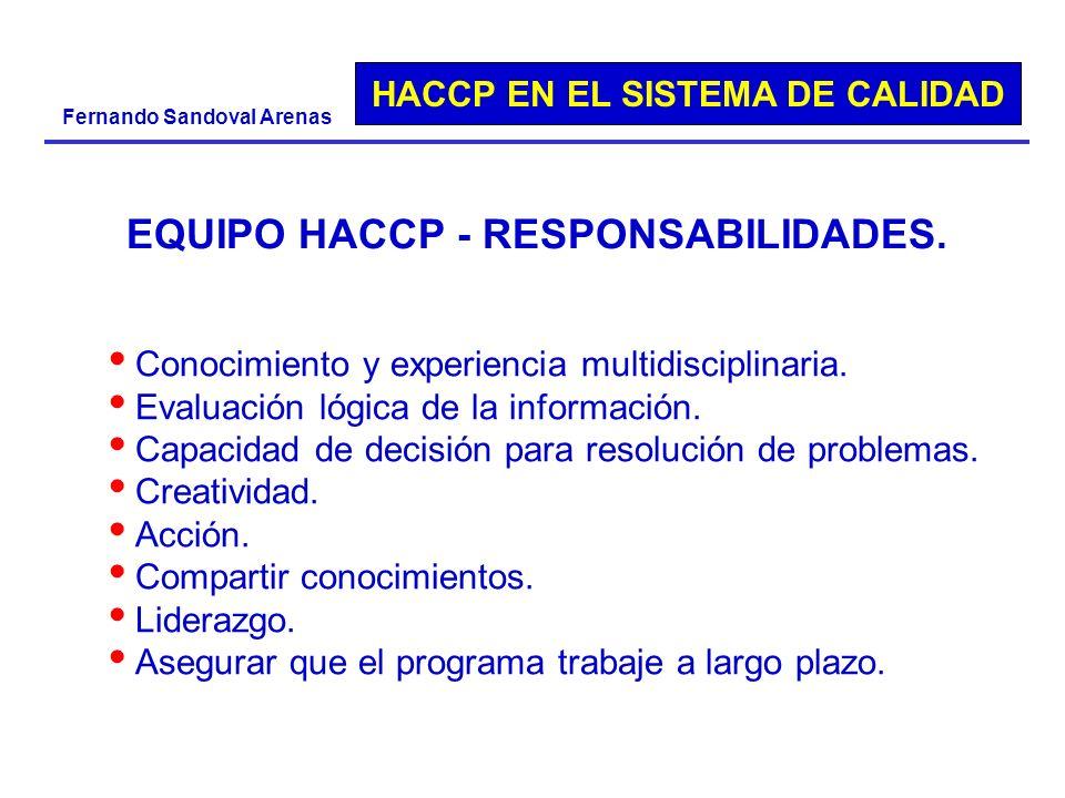HACCP EN EL SISTEMA DE CALIDAD Fernando Sandoval Arenas EQUIPO HACCP - RESPONSABILIDADES. Conocimiento y experiencia multidisciplinaria. Evaluación ló