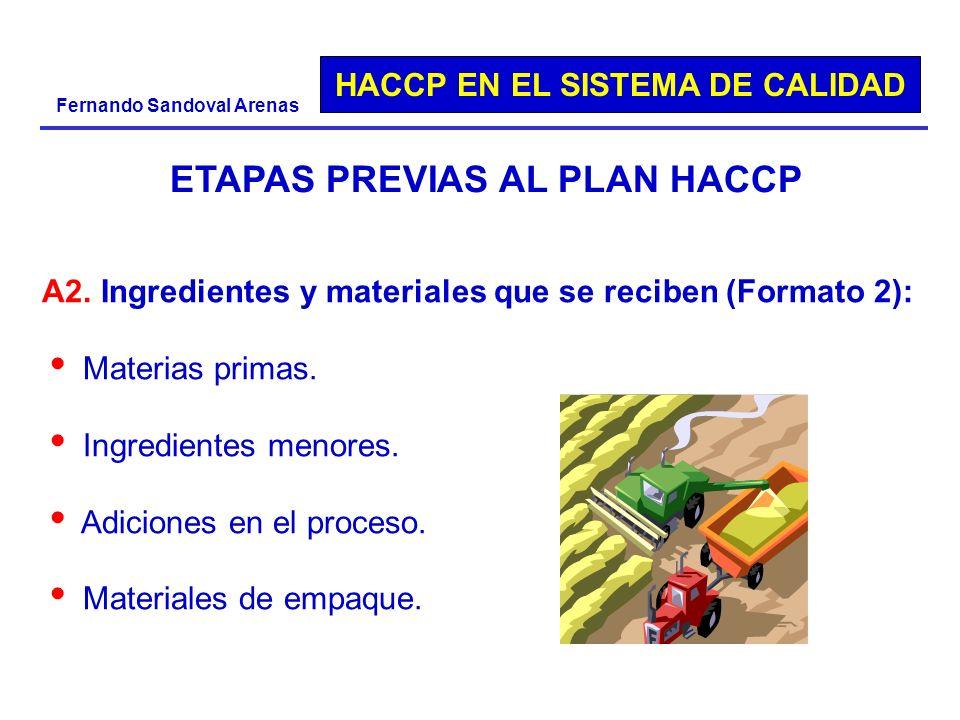 HACCP EN EL SISTEMA DE CALIDAD Fernando Sandoval Arenas A2. Ingredientes y materiales que se reciben (Formato 2): Materias primas. Ingredientes menore