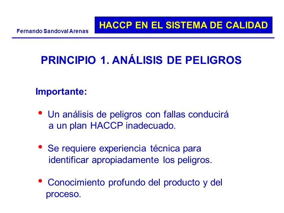 HACCP EN EL SISTEMA DE CALIDAD Fernando Sandoval Arenas PRINCIPIO 1. ANÁLISIS DE PELIGROS Importante: Un análisis de peligros con fallas conducirá a u