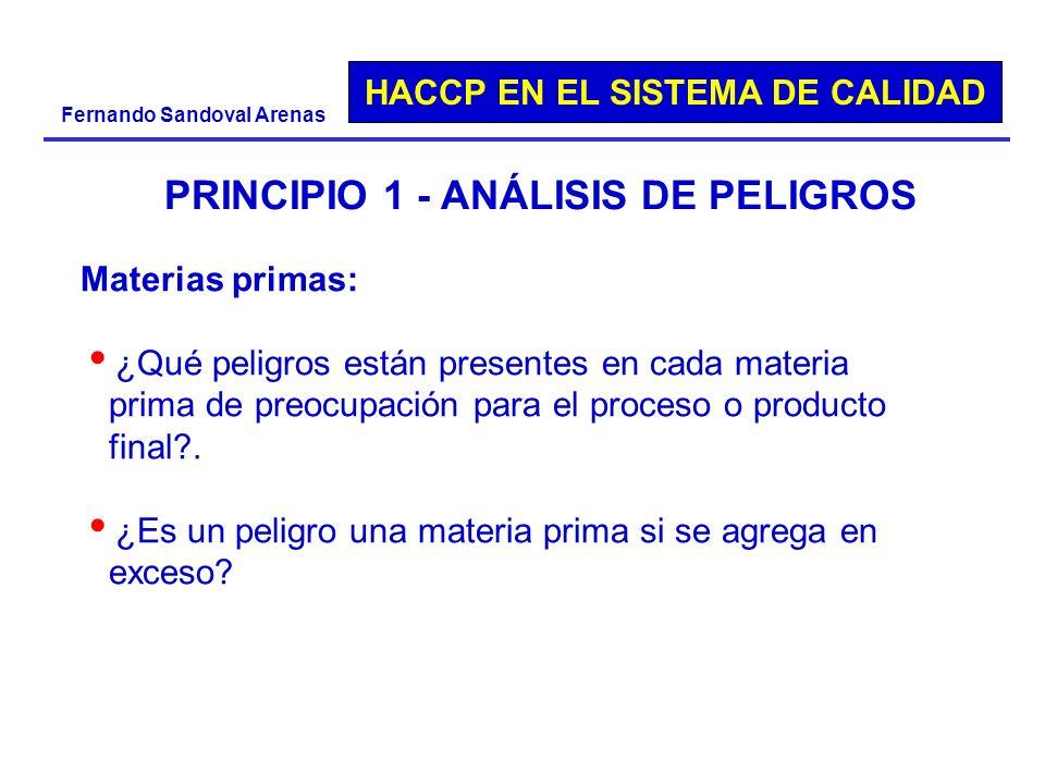HACCP EN EL SISTEMA DE CALIDAD Fernando Sandoval Arenas PRINCIPIO 1 - ANÁLISIS DE PELIGROS Materias primas: ¿Qué peligros están presentes en cada mate
