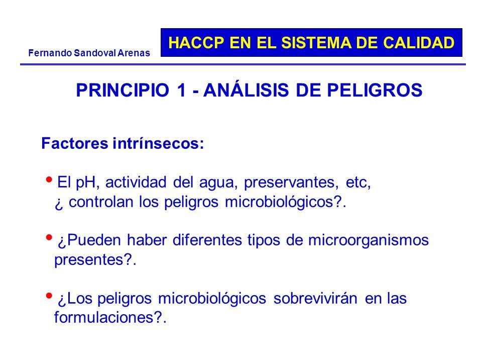 HACCP EN EL SISTEMA DE CALIDAD Fernando Sandoval Arenas PRINCIPIO 1 - ANÁLISIS DE PELIGROS Factores intrínsecos: El pH, actividad del agua, preservant
