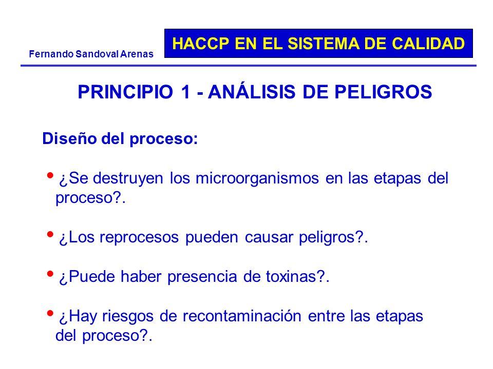 HACCP EN EL SISTEMA DE CALIDAD Fernando Sandoval Arenas PRINCIPIO 1 - ANÁLISIS DE PELIGROS Diseño del proceso: ¿Se destruyen los microorganismos en la