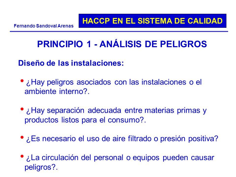 HACCP EN EL SISTEMA DE CALIDAD Fernando Sandoval Arenas PRINCIPIO 1 - ANÁLISIS DE PELIGROS Diseño de las instalaciones: ¿Hay peligros asociados con la