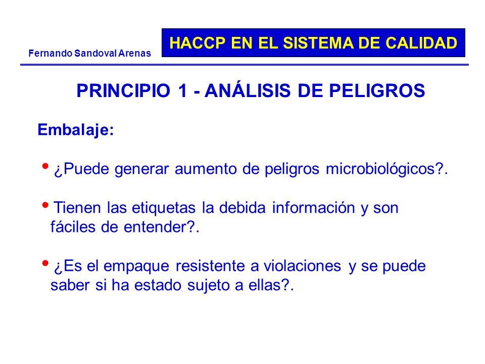 HACCP EN EL SISTEMA DE CALIDAD Fernando Sandoval Arenas PRINCIPIO 1 - ANÁLISIS DE PELIGROS Embalaje: ¿Puede generar aumento de peligros microbiológico