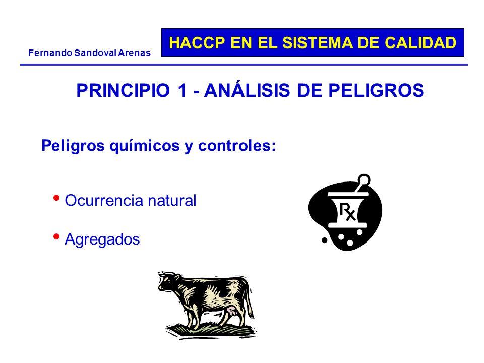 HACCP EN EL SISTEMA DE CALIDAD Fernando Sandoval Arenas PRINCIPIO 1 - ANÁLISIS DE PELIGROS Peligros químicos y controles: Ocurrencia natural Agregados
