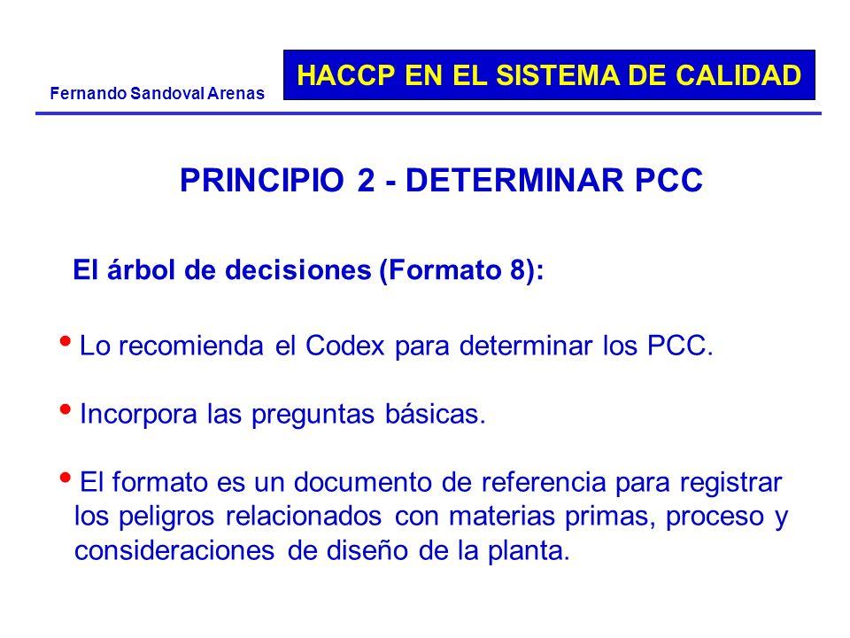 HACCP EN EL SISTEMA DE CALIDAD Fernando Sandoval Arenas PRINCIPIO 2 - DETERMINAR PCC El árbol de decisiones (Formato 8): Lo recomienda el Codex para d