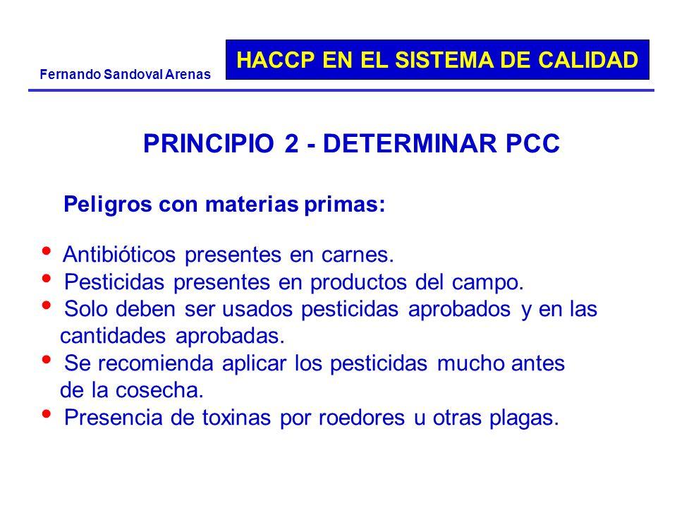 HACCP EN EL SISTEMA DE CALIDAD Fernando Sandoval Arenas PRINCIPIO 2 - DETERMINAR PCC Peligros con materias primas: Antibióticos presentes en carnes. P