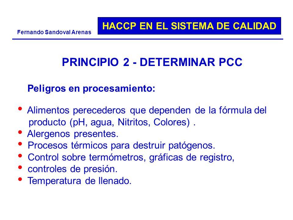 HACCP EN EL SISTEMA DE CALIDAD Fernando Sandoval Arenas PRINCIPIO 2 - DETERMINAR PCC Peligros en procesamiento: Alimentos perecederos que dependen de