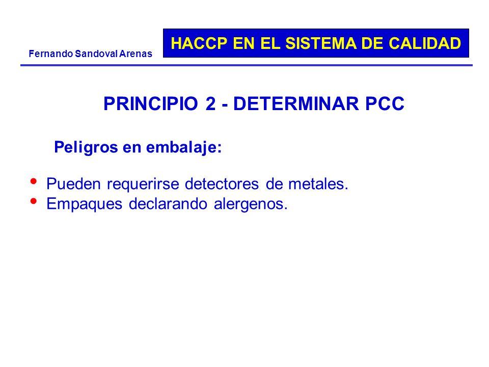 HACCP EN EL SISTEMA DE CALIDAD Fernando Sandoval Arenas PRINCIPIO 2 - DETERMINAR PCC Peligros en embalaje: Pueden requerirse detectores de metales. Em