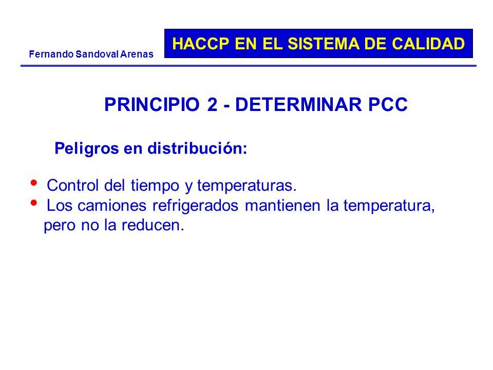 HACCP EN EL SISTEMA DE CALIDAD Fernando Sandoval Arenas PRINCIPIO 2 - DETERMINAR PCC Peligros en distribución: Control del tiempo y temperaturas. Los