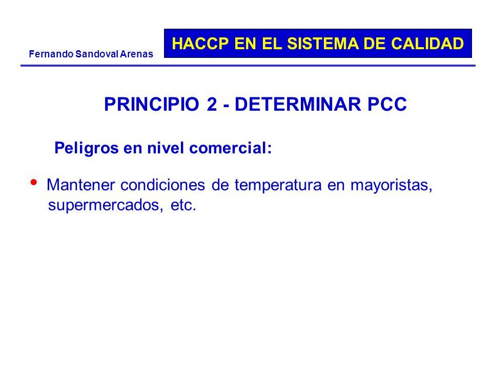 HACCP EN EL SISTEMA DE CALIDAD Fernando Sandoval Arenas PRINCIPIO 2 - DETERMINAR PCC Peligros en nivel comercial: Mantener condiciones de temperatura
