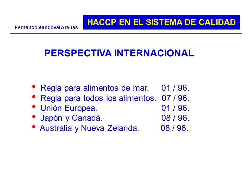 HACCP EN EL SISTEMA DE CALIDAD Fernando Sandoval Arenas PERSPECTIVA INTERNACIONAL Regla para alimentos de mar. 01 / 96. Regla para todos los alimentos