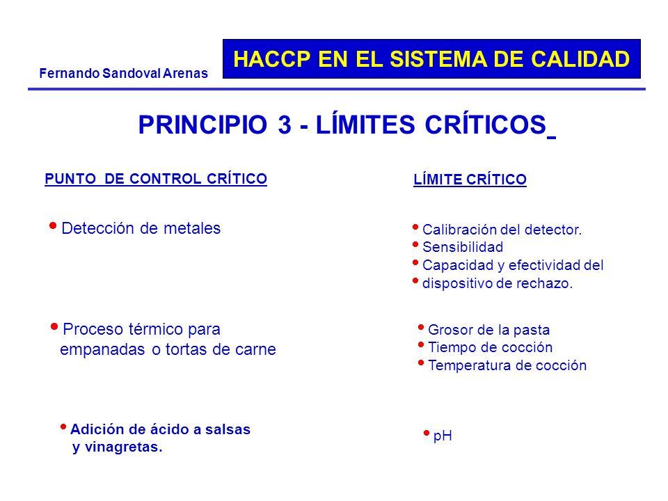 HACCP EN EL SISTEMA DE CALIDAD Fernando Sandoval Arenas PRINCIPIO 3 - LÍMITES CRÍTICOS PUNTO DE CONTROL CRÍTICO LÍMITE CRÍTICO Detección de metales Ca