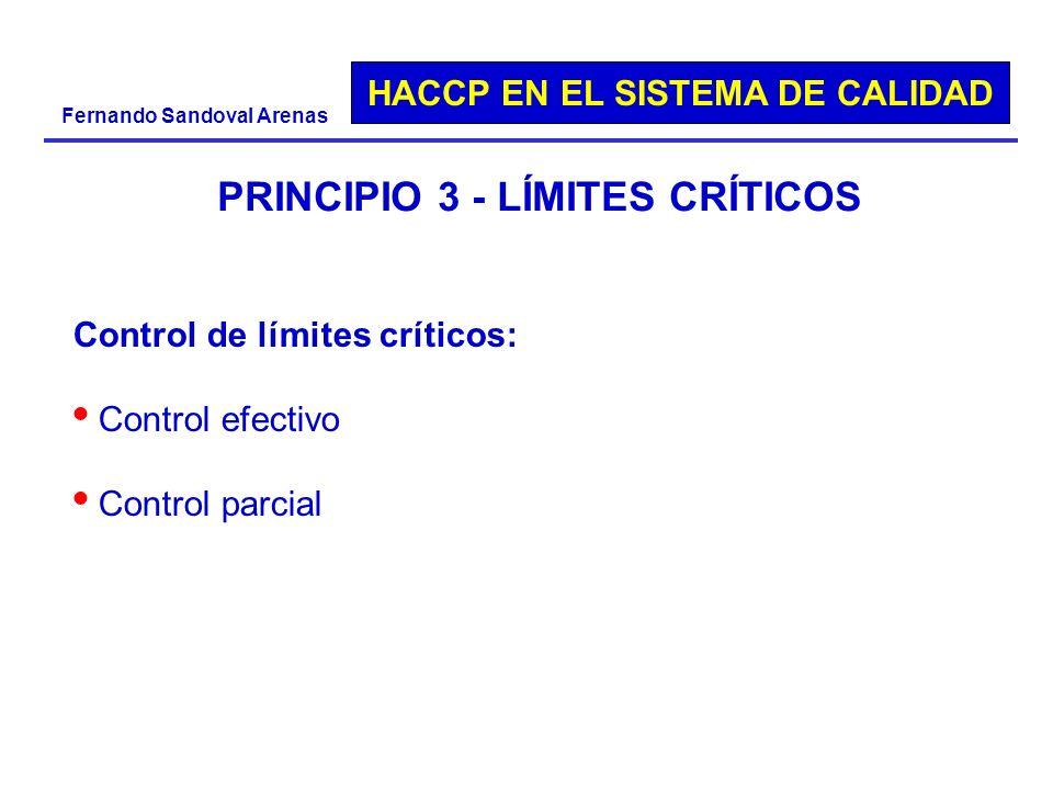 HACCP EN EL SISTEMA DE CALIDAD Fernando Sandoval Arenas PRINCIPIO 3 - LÍMITES CRÍTICOS Control de límites críticos: Control efectivo Control parcial