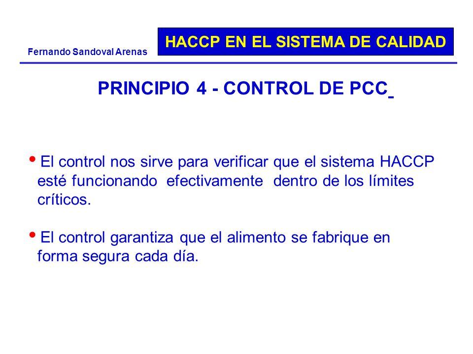 HACCP EN EL SISTEMA DE CALIDAD Fernando Sandoval Arenas PRINCIPIO 4 - CONTROL DE PCC El control nos sirve para verificar que el sistema HACCP esté fun