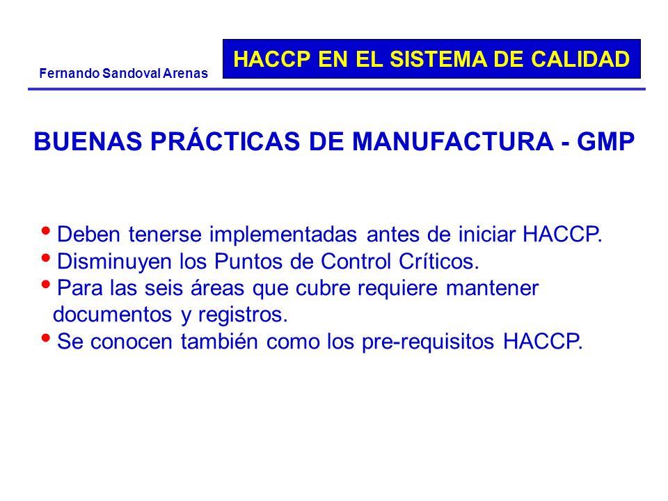 HACCP EN EL SISTEMA DE CALIDAD Fernando Sandoval Arenas BUENAS PRÁCTICAS DE MANUFACTURA - GMP Deben tenerse implementadas antes de iniciar HACCP. Dism