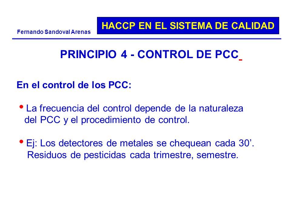 HACCP EN EL SISTEMA DE CALIDAD Fernando Sandoval Arenas PRINCIPIO 4 - CONTROL DE PCC En el control de los PCC: La frecuencia del control depende de la