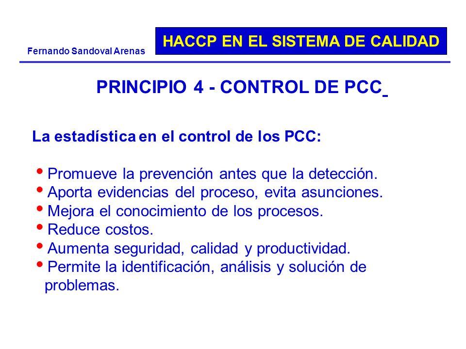 HACCP EN EL SISTEMA DE CALIDAD Fernando Sandoval Arenas PRINCIPIO 4 - CONTROL DE PCC La estadística en el control de los PCC: Promueve la prevención a