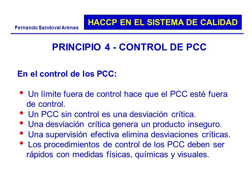 HACCP EN EL SISTEMA DE CALIDAD Fernando Sandoval Arenas PRINCIPIO 4 - CONTROL DE PCC En el control de los PCC: Un límite fuera de control hace que el