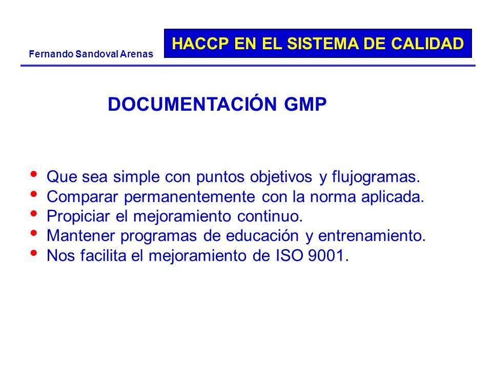 HACCP EN EL SISTEMA DE CALIDAD Fernando Sandoval Arenas DOCUMENTACIÓN GMP Que sea simple con puntos objetivos y flujogramas. Comparar permanentemente