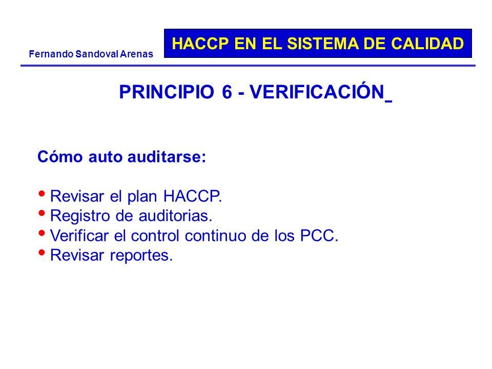 HACCP EN EL SISTEMA DE CALIDAD Fernando Sandoval Arenas PRINCIPIO 6 - VERIFICACIÓN Cómo auto auditarse: Revisar el plan HACCP. Registro de auditorias.