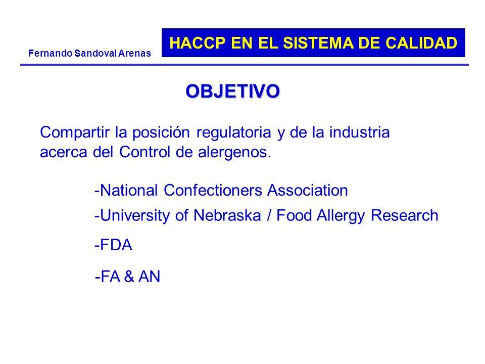 HACCP EN EL SISTEMA DE CALIDAD Fernando Sandoval Arenas OBJETIVO Compartir la posición regulatoria y de la industria acerca del Control de alergenos.