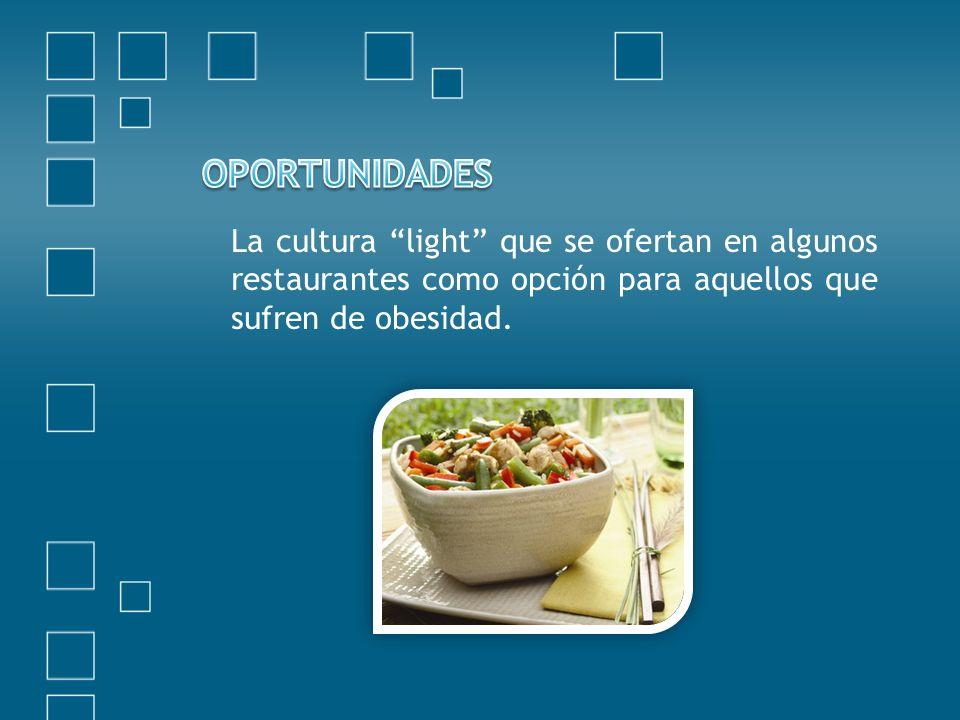 La cultura light que se ofertan en algunos restaurantes como opción para aquellos que sufren de obesidad.