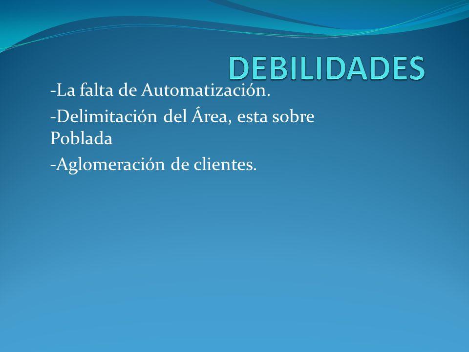 -La falta de Automatización. -Delimitación del Área, esta sobre Poblada -Aglomeración de clientes.