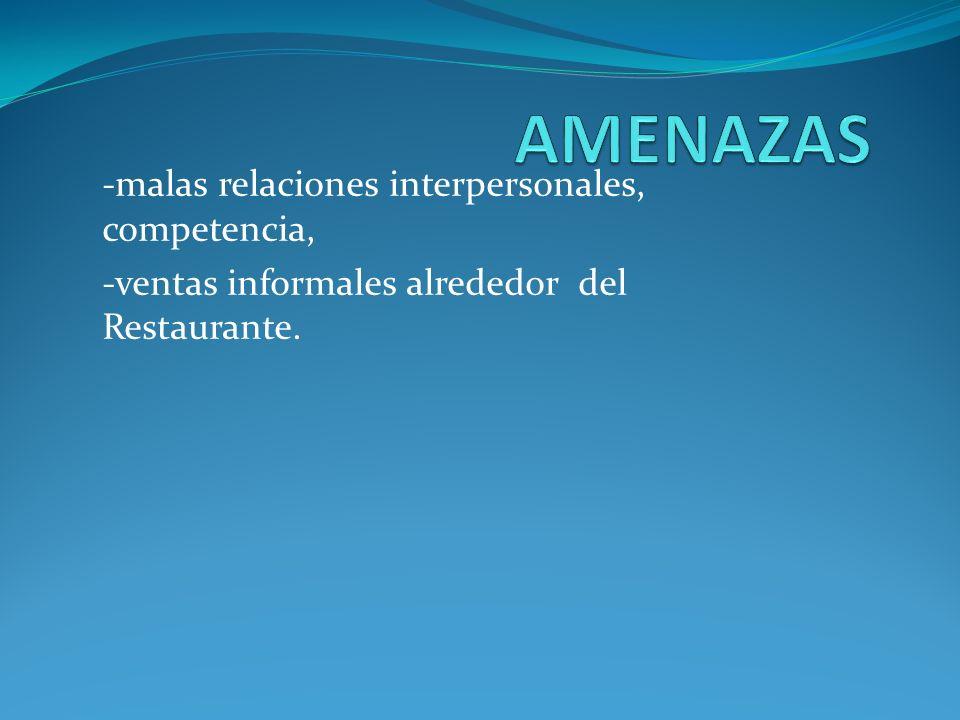 -malas relaciones interpersonales, competencia, -ventas informales alrededor del Restaurante.