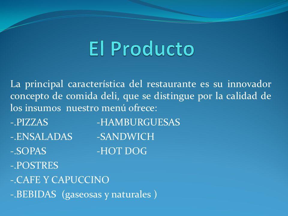 La principal característica del restaurante es su innovador concepto de comida deli, que se distingue por la calidad de los insumos nuestro menú ofrec