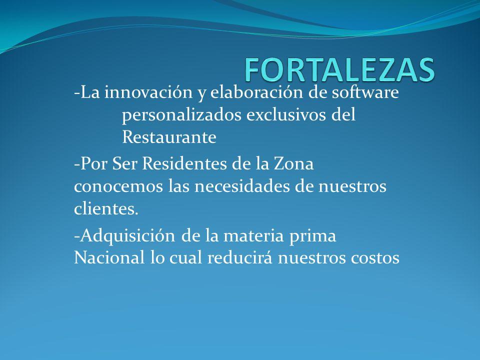 -La innovación y elaboración de software personalizados exclusivos del Restaurante -Por Ser Residentes de la Zona conocemos las necesidades de nuestro