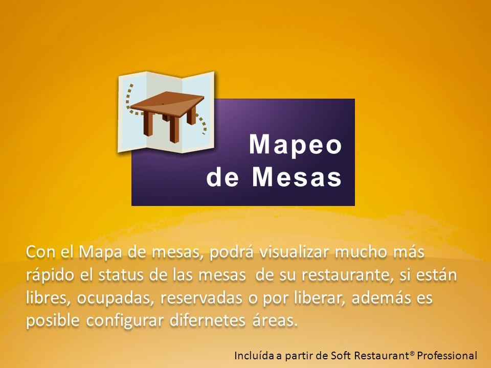 Con el Mapa de mesas, podrá visualizar mucho más rápido el status de las mesas de su restaurante, si están libres, ocupadas, reservadas o por liberar,
